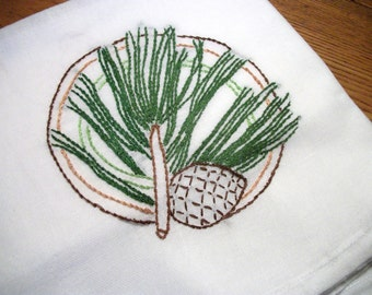 Dish Towel (Tea Towel) Pine Branch with Pinecones Cotton Flour Sack Dish Towel Hand Embroidered Dish Towel