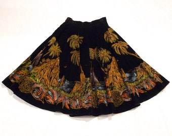 Mexican Skirt Vintage Painted black velvet circle skirt Mexico Tipicano Acapulco Cliff Diver 50s Day of the Dead Party Folk Art