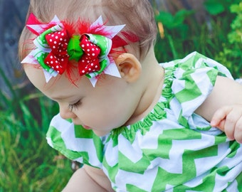 Christmas Cheer Combo Bow Baby Petite Headband, Christmas bow, Infant Headband, Boutique Baby Bow, Christmas Bow, red Headband