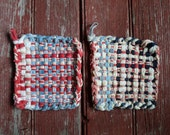 Vintage Set of Two Rustic Potholders Pot Holders Multi Colored Rustic Farmhouse Cabin Kitchen Prim Primitive Handmade Folk Art
