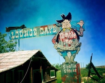 Tumble Inn Restaurant and Lounge Neon Sign - Retro Roadside Home Decor - Powder River, Wyoming - Neon Cowboy - Fine Art Photography