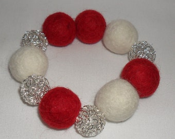 Red and cream felt ball bracelet bead  white metal wire wool