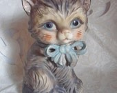 SALE - Vintage Lefton China Kitten with Blue Bow coin Bank