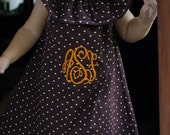 FREE SHIPPING/ Monogrammed Brown and White Polka Dot A-line Ruffle Top Fall Dress