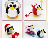 Pack of 4 Penguin Patterns  - crochet toy amigurumi pattern special offer