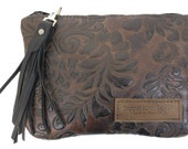 Monterey Leather Clutch Purse - Brown Paisley
