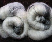 Wool Batt for Spinning or Felting  - White and Black mix - 2 oz