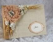 Burlap Wedding Photo Album, Wedding Scrapbook, Bridesmaid Thank You Gift, Parent Photo Gift