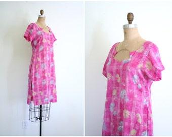 Indian floral print gauze tunic - India salwar summer dress / hot pink tunic dress - hippie festival dress / metallic lurex threads
