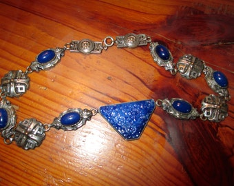 Sublime 1920's Signed Art Deco CZECH Sapphire Blue CARVED Glass & SAPPHIRE Blue Cabochons and Copper and Silver Revival Vintage Necklace