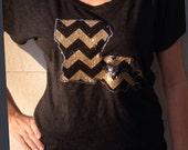 Chevron Louisiana Tee (black and gold)  Dolman sleeve