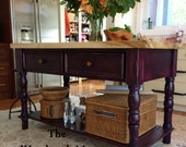 BEAUTIFUL Kitchen Island Velvety Purple Finish Completely Handcrafted 2 Inch Thick Solid Poplar Top