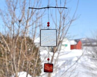 Mobile-Red mobile-Glass mobile-Red Suncatcher-Glass suncatcher-Children mobile-Baby mobile-Hostess gift-Teacher gift-En Bleu et Verre