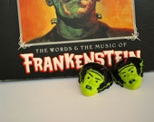 Bride of Frankenstein Stud Earrings Green and Black Classic Monster Halloween Retro Punk Rockabilly Goth Style