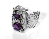 Steampunk Jewelry Ring Vintage Art Deco Watch Swarovski AMETHYST Crystals Steam Punk Womens Valentines Gift - Jewelry by Steampunk Boutique