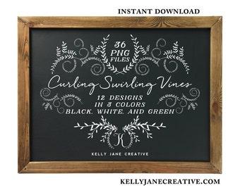Leafy Scrolls Vine Frame Clipart  | Blog Graphics | Invitation Graphics | Wedding Graphics | Chalkboard | Instant Download