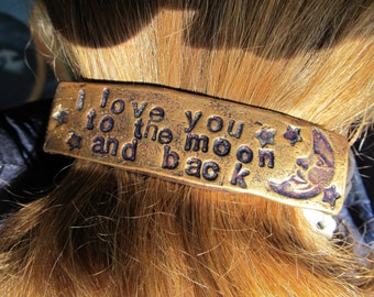 I Love You to the Moon and Back Barrette in Gold and Purple