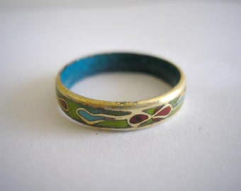 The Chinese traditional Gold tone cloisonnes enamelled ring size 7