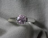 1.10 Carat Pink Tourmaline Solitaire Ring Checkerboard Cut