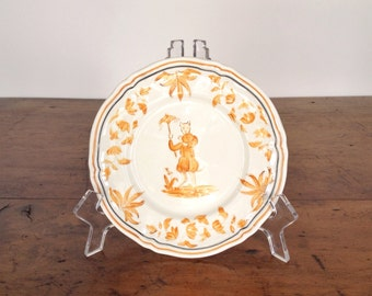"ONE vintage ""Olerys"" pattern bread and butter plate by Longchamp, 6-3/8 in, hand painted faience French country style, pumpkin orange, cream"