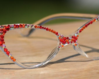 Clear Lens Glasses, Cat Style frames, red and orange Swarovski Crystals, 100% UV Protection, Vintage Style