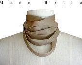 Leather choker, Taupe leather scarf, Raw edge Leather Wrapping Choker Necklace or Skinny Leather Scarf, Mushroom Taupe, made to order