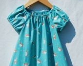 Easter Eco - Friendly Dress - Peasant Dress for Girls - Pastel Bunny Rabbit  Print - Organic Cotton