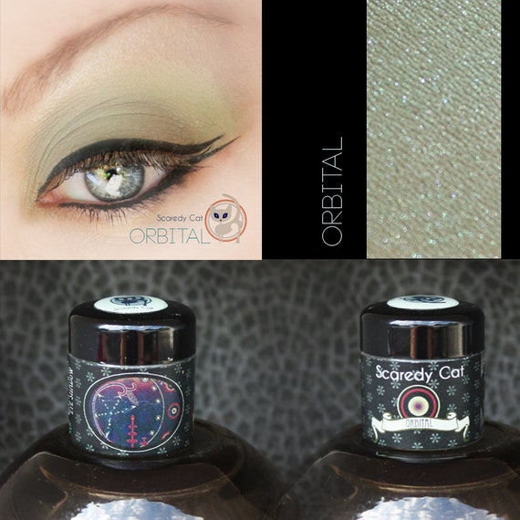 Vegan Eye Shadow - Taupe with pearlescent Green - Scaredy Cat  - ORBITAL - 5 mL Sifter