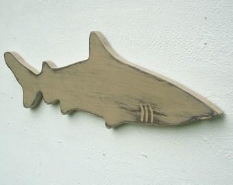 wood shark wall art