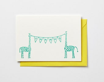 Thanks Giraffes in green, folded letterpress note card