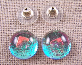 "Dichroic Earrings - 1/2"" 12mm - Neon Ice Mint Teal Emerald Green with Peach Copper Opal Accent Dot - Moonstone Glow - Post or Clip-On"