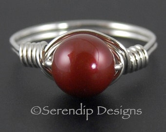 Bordeaux Silver Pearl Ring Solitaire, Argentium Sterling Silver Swarovski Elements Brick Red Pearl Ring, Sterling Silver Red Pearl Ring