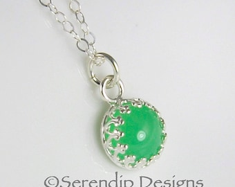 Petite Chrysoprase Pendant in Sterling Silver Gallery Wire Crown Bezel, Green Gemstone Necklace GS25