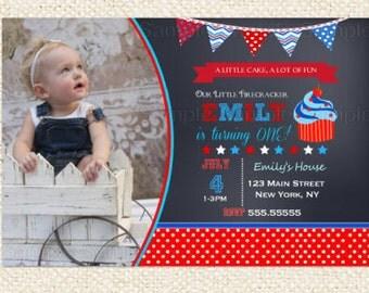 4th of July Birthday Invitation , Red White and Blue Birthday Invitation Boys Girls