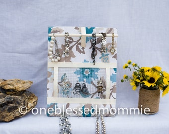 JEWELRY ORGANIZER- Jewelry Board- French Blue and Brown Floral- 11x14 inches, 15 Large Hooks