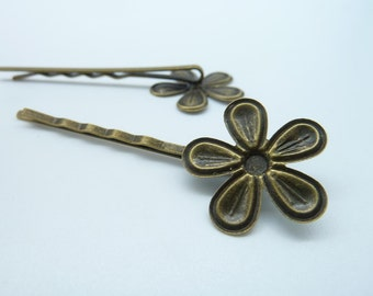 10pcs 24x65mm Antique Bronze Iron Simple Base Wrap setting Bobby Hair Pin c2478