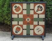 Halloween Game Board, Parcheesi Game Board,  Primitive Game Board, Primitive Halloween, Folk Art Game Board