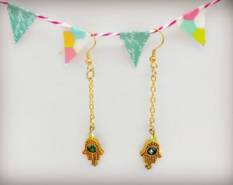 Dangle Earrings - Handmade Gold Hamsa Hand Earrings with Green Bead - The Wanderlust Collection