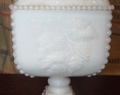 Vintage Westmoreland Milk Glass Covered Pedestal Dish with Grapes and Leaves Pattern