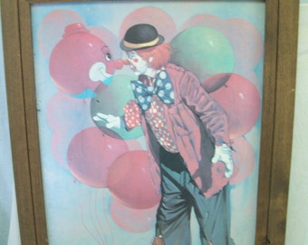 Vintage Reproduction on Canvas, Chuck Oberstein, Clown, Large, Framed