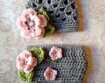 The Sofia Flower Beanie in Baby Pink, Gray and Celery Green with Matching Diaper Cover Available in Newborn to 24 Months Size- MADE TO ORDER