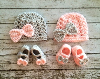 Twin Ashlee Beanies in Pale Pink and Gray with Matching Booties Available in Newborn to 12 Month Size- MADE TO ORDER