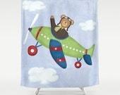 Airplane Teddy Bear Shower Curtain, Children's Bathroom, Kids Bathroom Decor, Airplane Teddy Bear Bathroom, Boy Bathroom Decor