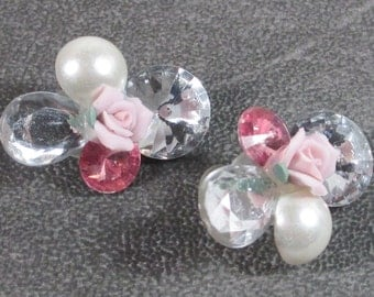 Vintage Pierced Earrings with Rhinestones Porcelain Rose and Faux Pearl, Pinks and Bling