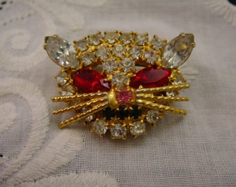 Vintage Rhinestone Cat Head Pin, Red and Clear Crystal Rhienstones