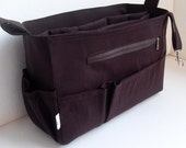 Extra tall- Large size Purse organizer with iPad Sleeve - Bag organizer insert in Coffee brown  fabric