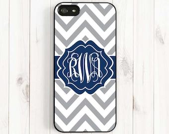 Personalized Monogram Phone Case Samsung Galaxy S3 S4 iPhone 4 4s iPhone 7 6 5 iPhone 5s 5c Case  Grey Chevron Navy Blue Monogram Csc57