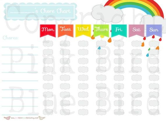 Printable Rainbow Chore Chart