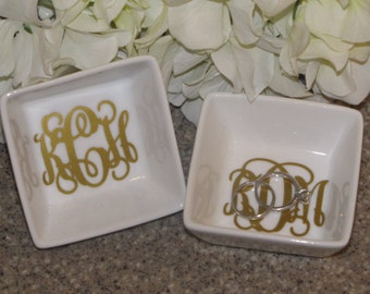 Personalized Monogrammed Ceramic Ring Dish