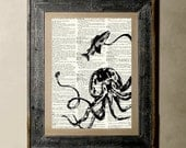 Octopus(version3) - Printed on a Vintage Dictionary, 8X10, dictionary art, paper art, illustration art, collage, wall art, wall decor